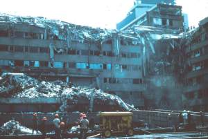 Mexico City Earthquake, September 19, 1985. Collapsed upper s...