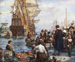 Pilgrims departing on Mayflower