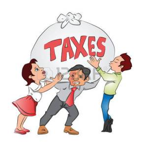 37662635-vector-illustration-of-businessmen-and-businesswoman-holding-an-overweight-sack-of-taxes