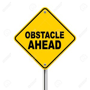 3d yellow roadsign of obstacle ahead